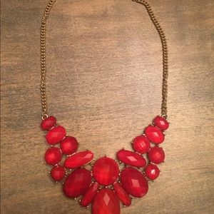 "ICING Goldtone 20"" Necklace w Red Colored Stones"